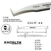 4 5  Angled Flat Sharp Tip Tweezer 6 SA PI
