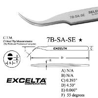 4 5  Curved Fine Tip Serrated Tweezer 7B SA SE
