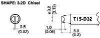Chisel Soldering Tip T15 D32